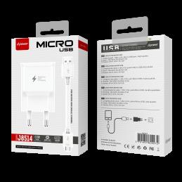 Prise secteur + câble microUSB - Blanc