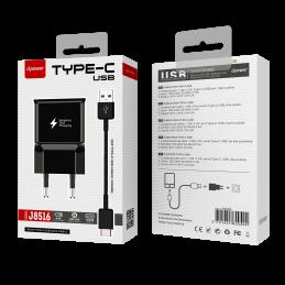 Prise secteur + câble Type C - Noir