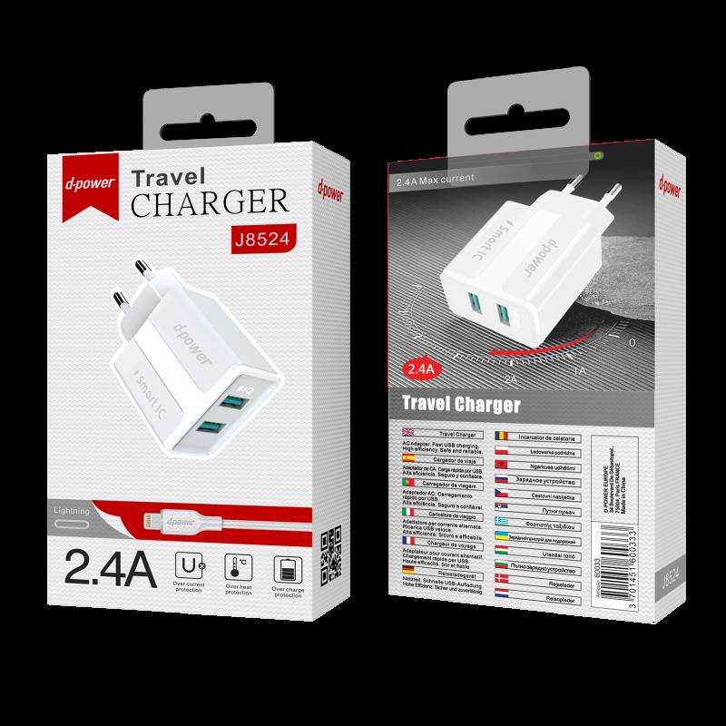 Prise secteur 2 ports USB + câble lightning - Blanc