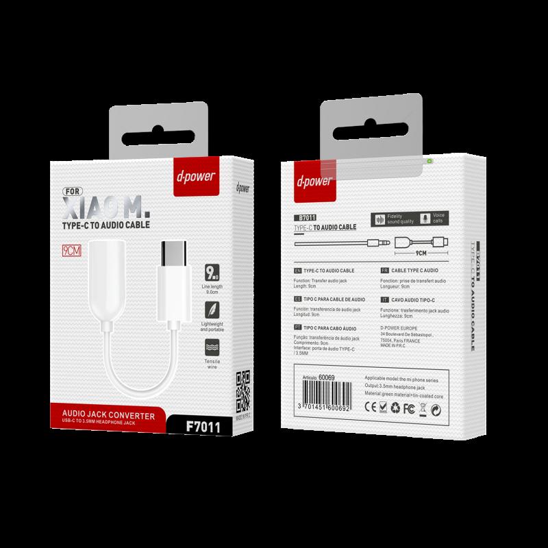 Câble Type C Audio Version 2 9cm - Blanc