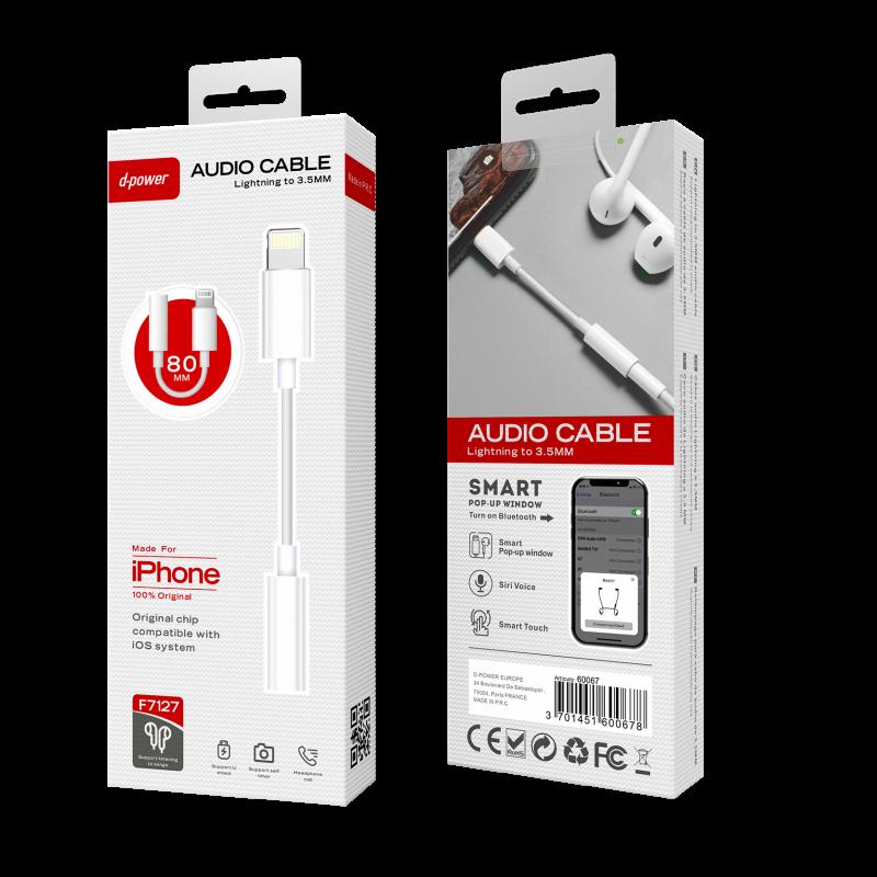 Câble Type C Audio lightning 9cm - Blanc