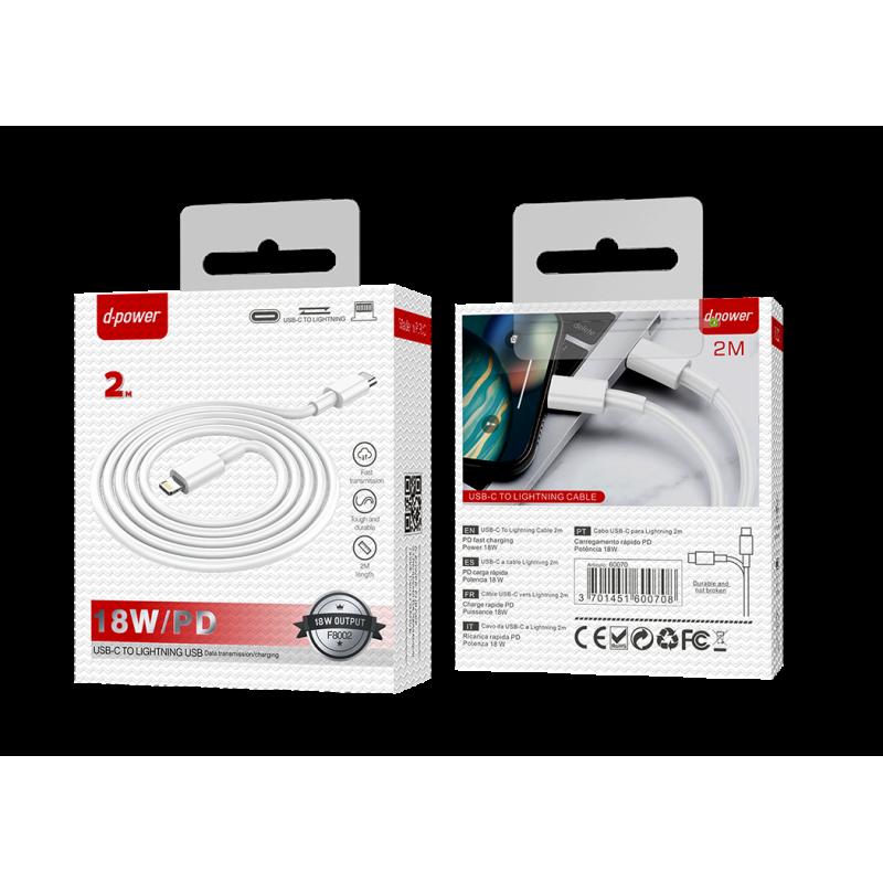 Câble USB-C to lightning 2m - Blanc
